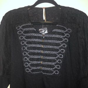 NWT FREE PEOPLE Black Oversized Top